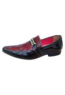 Sapato Masculino Italiano Em Couro Social Executivo Ref: 873 Vermelho