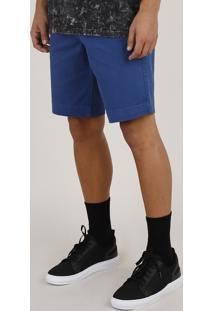 Bermuda De Sarja Masculina Slim Azul