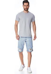 Bermuda Jeans Zait Tradicional Jota Azul Marinho