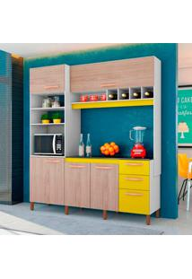 Cozinha Compacta Com 5 Portas 3 Peças Cacau K110 – Albatroz - Branco / Teka / Amarelo