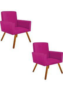 Kit 2 Poltronas Decorativas Nina Suede Pink Com Encosto Alto Drossi