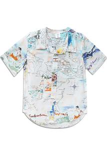Camisa Infantil Gap Worldwide Surf Masculina - Masculino-Off White
