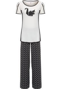 Pijama Feminino Longo Jersey Eduarda - Preto