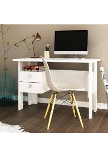 Mesa Para Computador/Escrivaninha 2 Gavetas Msm 423100 Mdp Branco - Móvel Bento
