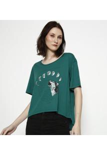 """Camiseta """"Fases Da Lua""""- Verde & Off White- Sommersommer"""