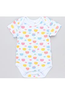 Body Infantil Estampado De Gatinhos Manga Curta Decote Redondo Cinza Mescla Claro