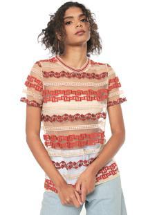 Camiseta Colcci Tule Bordada Bege/Laranja - Kanui