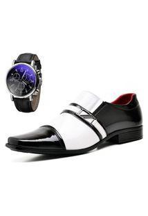 Sapato Social Com E Sem Verniz Com Relógio Dubuy 820Mr Branco