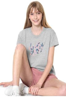 Camiseta Lacoste Lettering Cinza