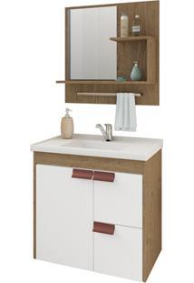 Gabinete Suspenso Para Banheiro Tulipa Com Espelho 59X35,5Cm Carvalho E Branco