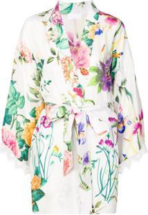 P.A.R.O.S.H. Jaqueta Kimono Floral - Branco