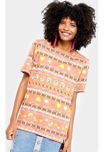 Camiseta Cantão Estampa Étnica Feminina - Feminino