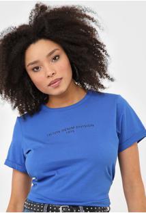 Camiseta Triton Lettering Azul - Azul - Feminino - Algodã£O - Dafiti