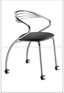 Cadeira Angola Cromada Com Rodizios Corino Preto - 17604 Sun House