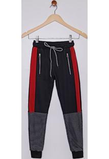 Calça Moletinho Juvenil Para Menino - Preto/Vermelho