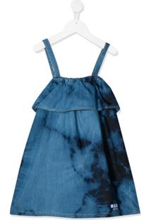 Msgm Kids Vestido Jeans Tie-Dye - Azul