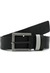 Cinto Couro Calvin Klein Jeans Logo Preto