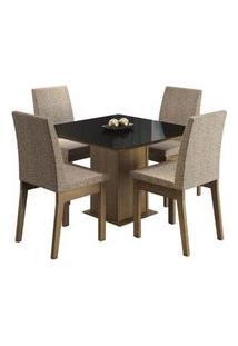 Conjunto Sala De Jantar Madesa Gaia Mesa Tampo De Vidro Com 4 Cadeiras Rustic/Preto/Fendi Rustic