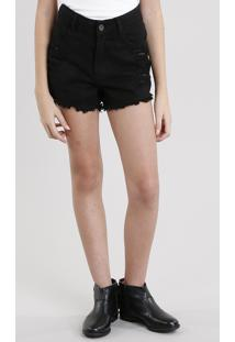 Short Color Infantil Destroyed Preto