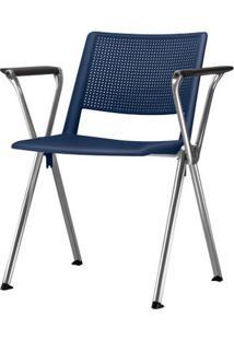 Cadeira Up Com Bracos Assento Azul Base Fixa Cromada - 54310 - Sun House