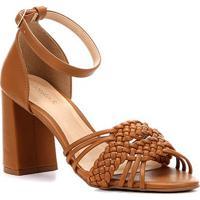4a778aaa0 Sandália Shoestock Salto Grosso Handmade Feminina - Feminino-Caramelo