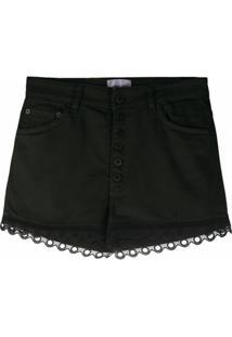 Dondup Short Jeans Com Aplicação De Ilhós - Preto