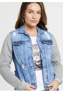 Jaqueta Feminina Jeans Destroyed Recorte Moletom