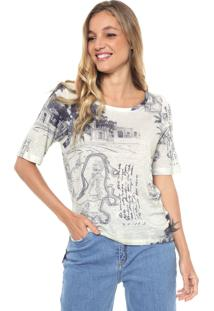 Camiseta Sacada Estampada Off-White