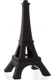 Escultura Decorativa Em Cerâmica Torre Eiffel 39Cm Preta