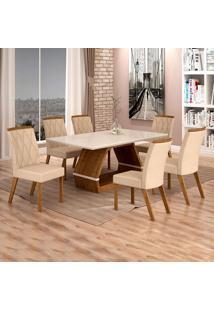 Conjunto De Mesa De Jantar Ii Com 6 Cadeira Esmeraldas Veludo Off White E Palha
