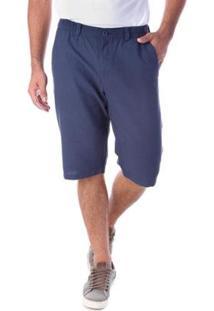 Bermuda Traymon Sarja Regular Com Elástico Masculina - Masculino-Azul