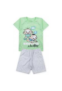 Pijama Infantil Turma Da Mônica Verde 61040008 - Evanilda
