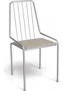 Cadeira De Ferro Benim Crome Kappesberg Cromado/Linho Marrom