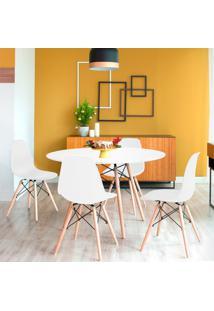 Conjunto De Mesa De Jantar Com 4 Cadeiras Eames Eiffel Branco
