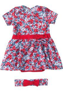 Vestido Estampado Menina Zig Zig Zaa Azul Claro - 1