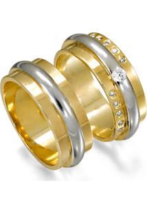 Aliança De Ouro Noivado Lisa E 1 Filete Em Ouro - As0533 + As0534 Casa Das Alianças