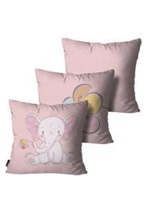 Kit Mdecore Com 3 Capas Para Almofada Infantil Elefante Rosa 35X35Cm