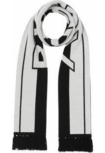 Burberry Cachecol De Cashmere Com Logo Jacquard - Branco