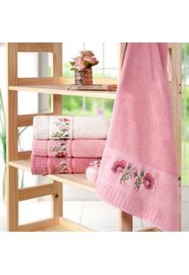 Kit 4 Toalhas De Rosto Encanto Rosa Flamingo - Bene Casa - Tricae