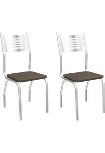 Conjunto De Cadeiras Munique Cromadas 2 Peças C047 Kappesberg - Marrom