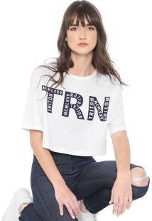 Camiseta Cropped Triton Lettering Branca