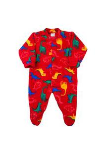 Macacão Pijama Bebê Ano Zero Microsoft Estampado 21 - Vermelho