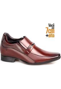 Sapato Social Couro Rafarillo Masculino Elástico Salto 7Cm - Masculino-Mogno