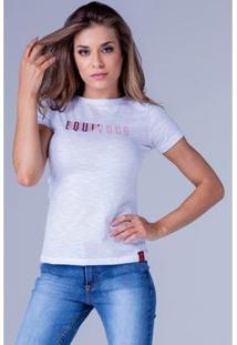 Camiseta Equivoco Babylook Perla Feminina - Feminino-Branco