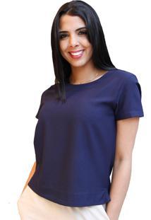 Camiseta Soellas Boutique Crepe Com Mangas Azul Marinho
