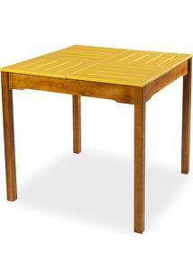Mesa De Jantar Compacta De Madeira Maciça Taeda Natural Com Tampo Colorido Olga - Verniz Nozes/Amarelo 80X80X75Cm