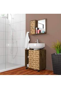 Gabinete Para Banheiro 1 Porta Com Espelheira Móveis Bechara Madeira Rústica/Madeira 3D