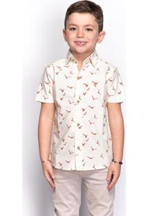 Camisa Social Juvenil Menino Estampada Manga Longa Casual
