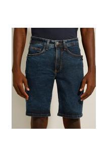 Bermuda Slim Jeans Marmorizada Azul Escuro