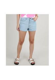 Short Jeans Feminino Hot Pant Cintura Super Alta Com Barra Dobrada Azul Claro